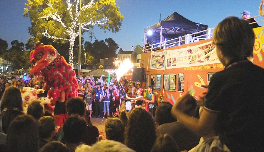 leederville-lion dance flame thrower